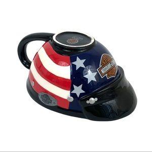 Harley Davidson 99 American Flag Helmet Coffee Mug